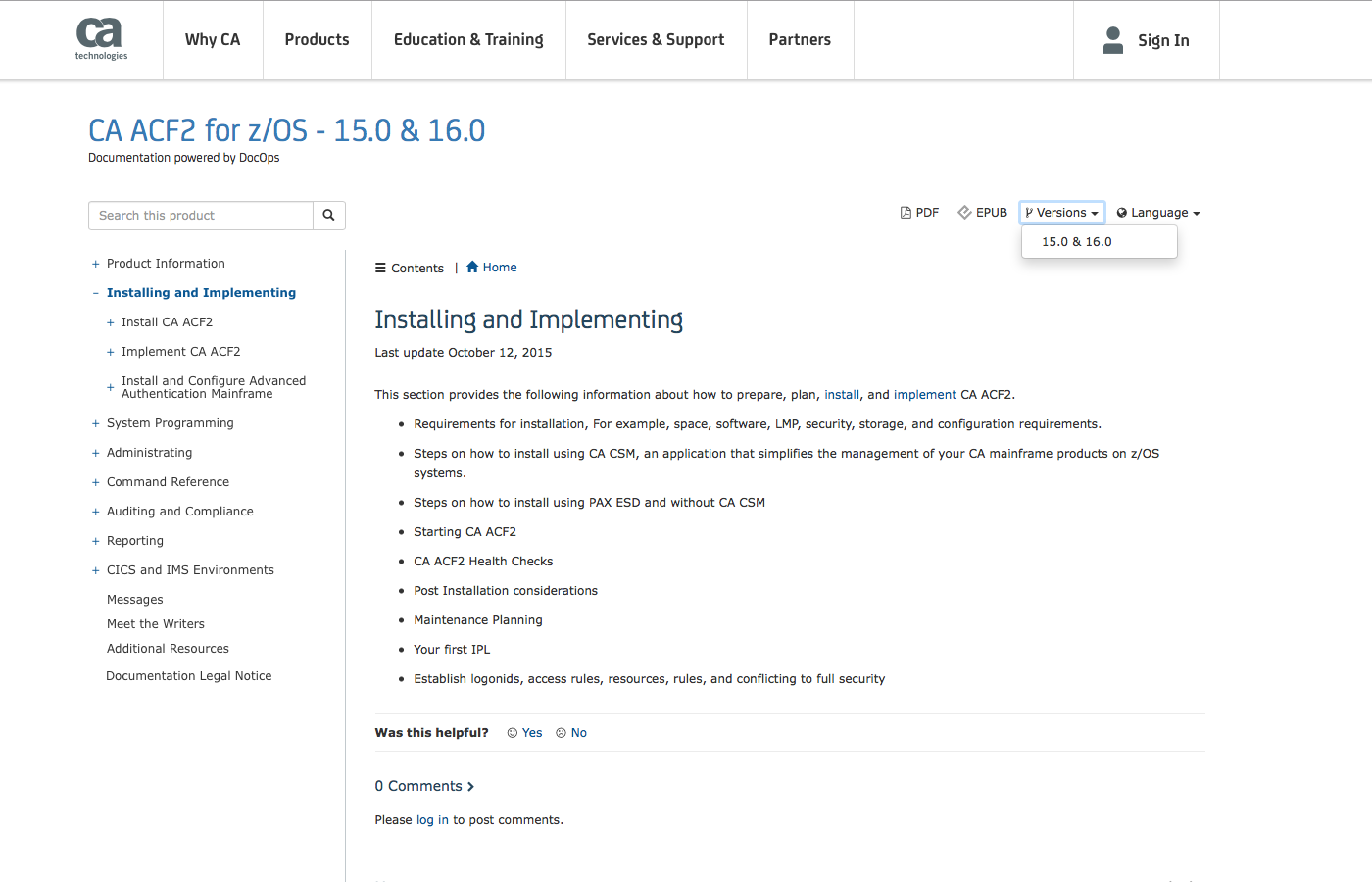 Screenshot of CA Technologies documentation.