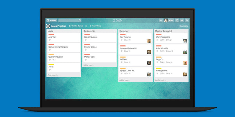Image of a computer using the Trello productivity tool set against a blue background.