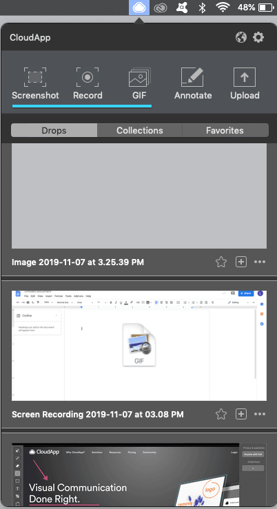 CloudApp screen recording features