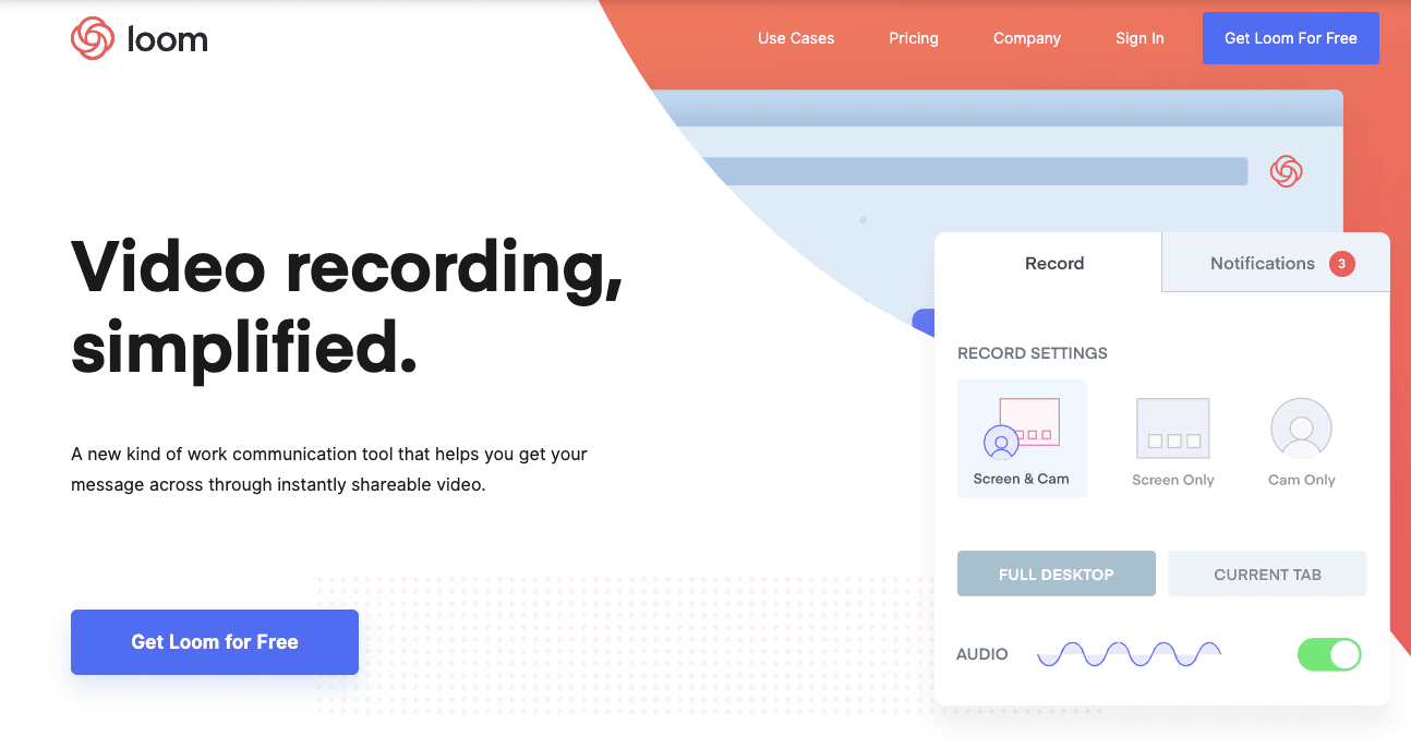 A screenshot from Loom™ website