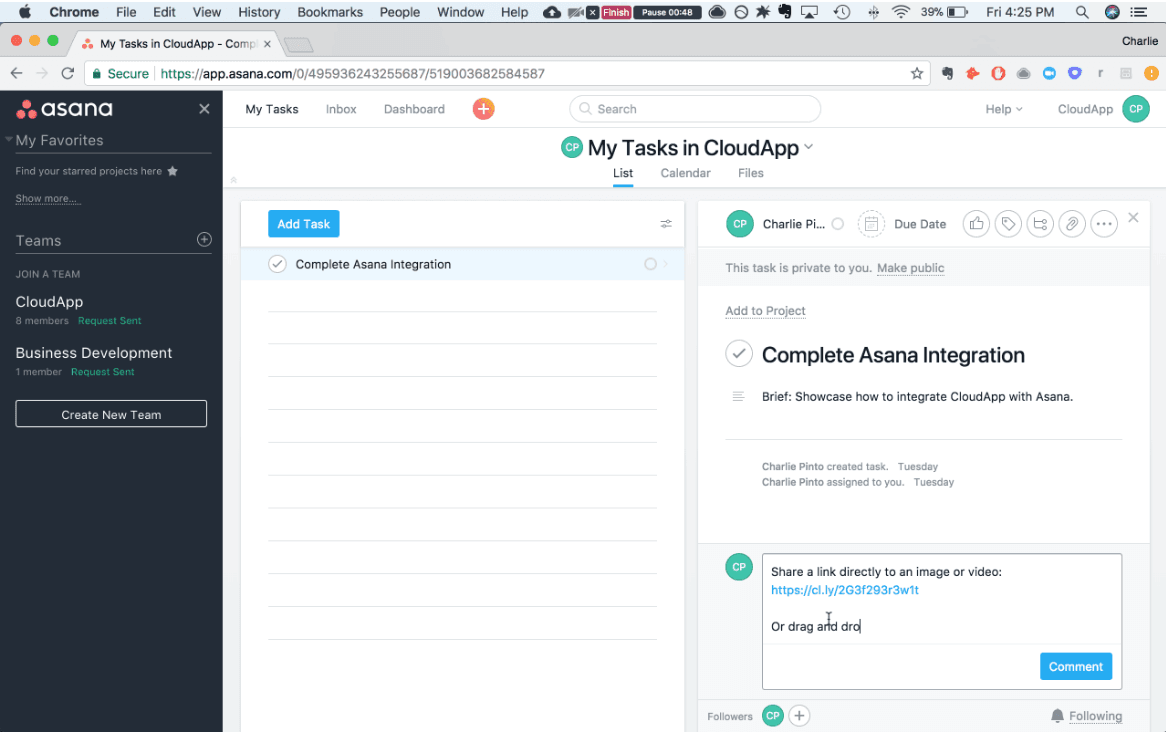 CloudApp and Asana integration