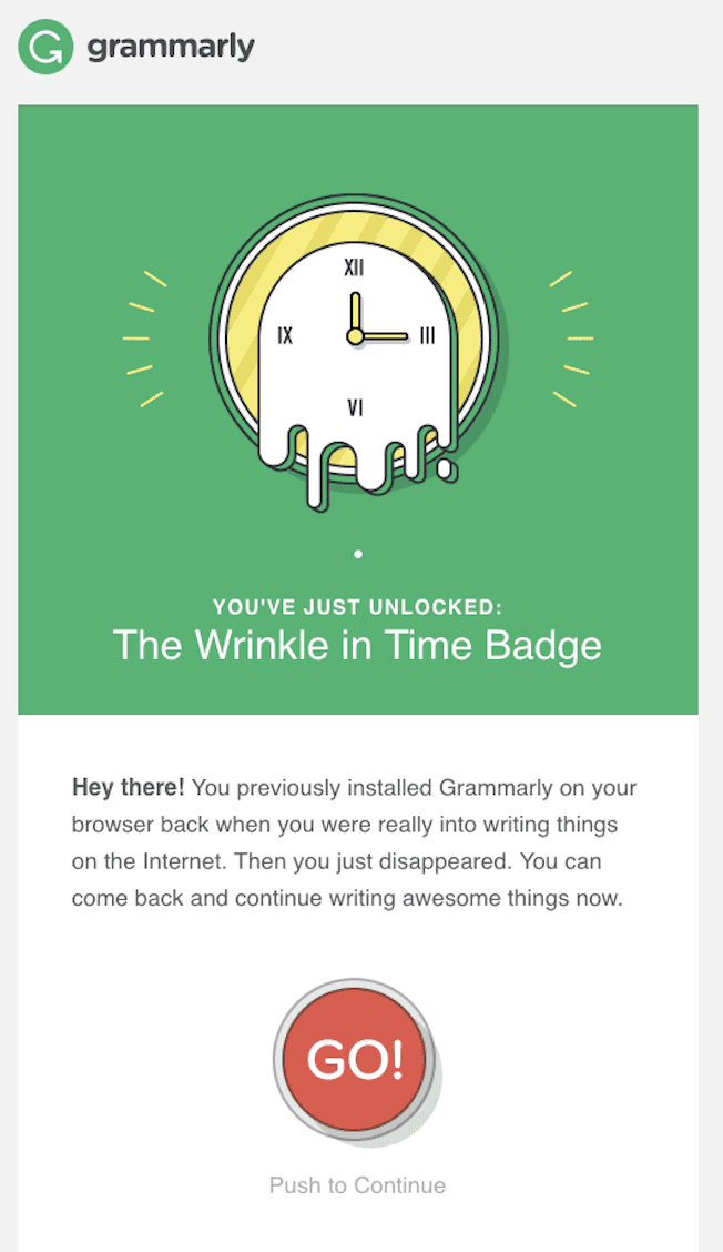 Grammarly win-back email via Zaius