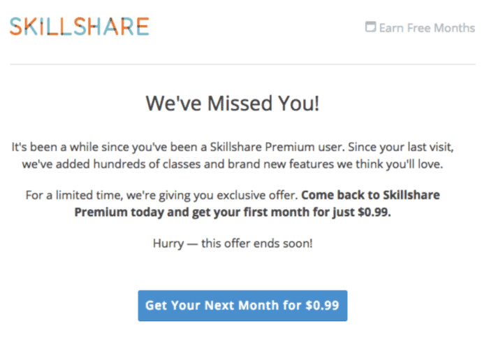win-back campaign email with a great deal, via Skilllshare