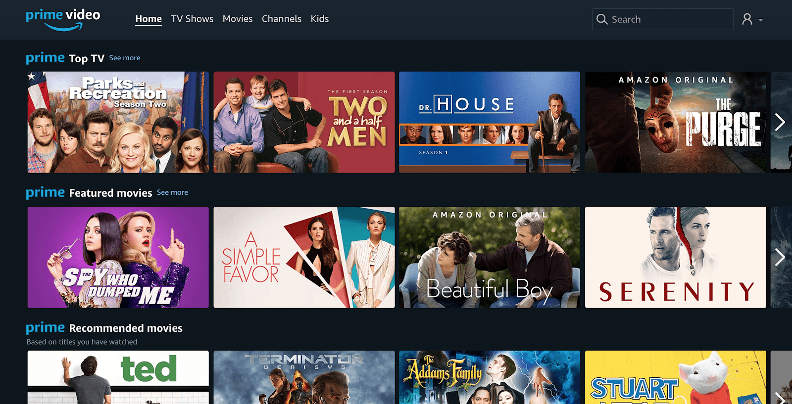 Prime Video dark mode