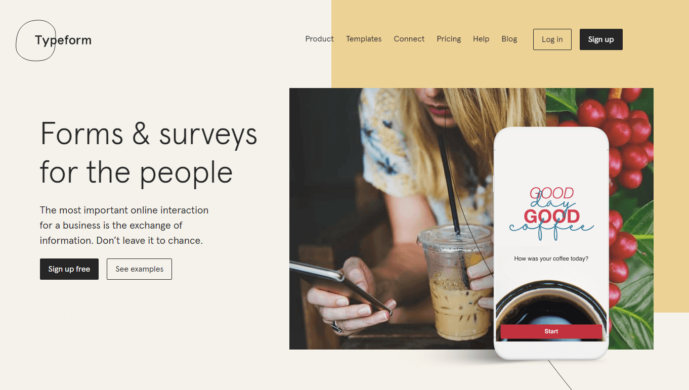 Homepage of Typeform, an online survey tool with an aesthetically pleasing interface.