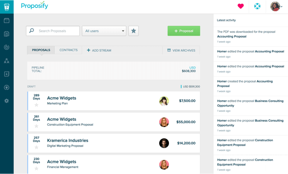 Screenshot of Proposify, a sales productivity tool