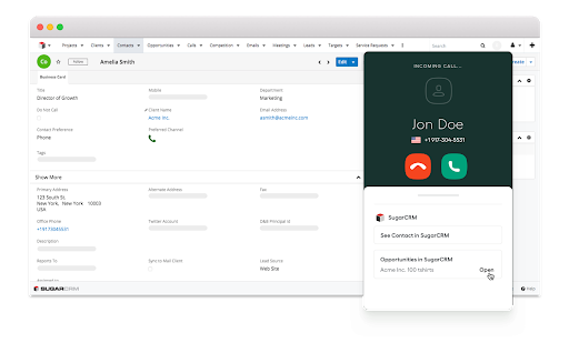 Screenshot of Aircall, a sales productivity tool