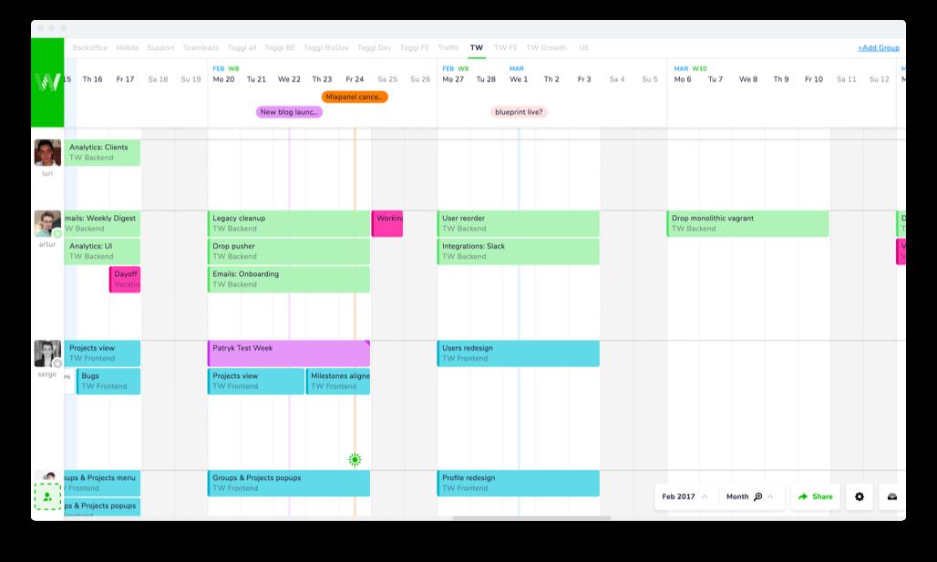 A screenshot of the Teamweek collaboration software
