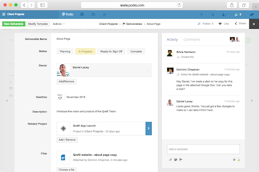 A screenshot of the Podio collaboration software