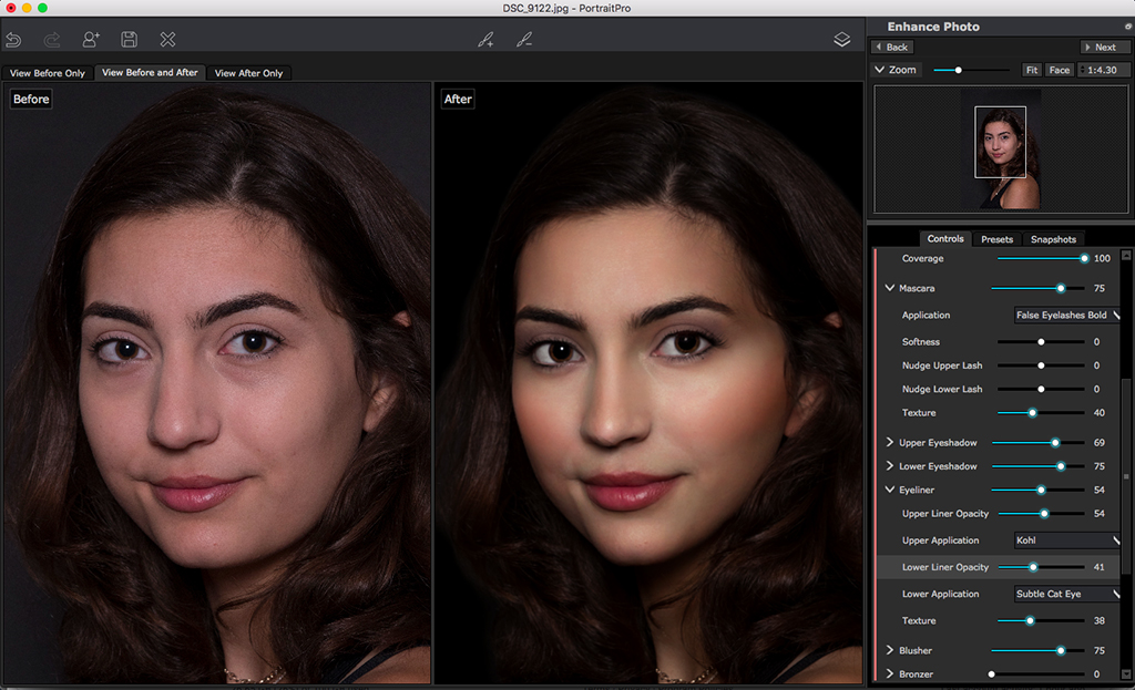 A screenshot of PortraitPro, a Photoshop plugin.