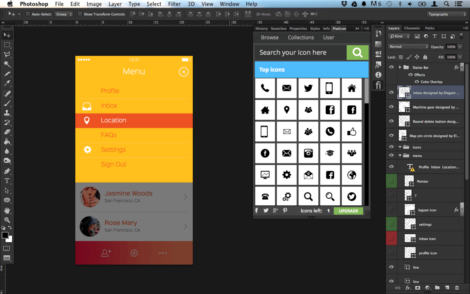 A screenshot of FlatIcon, a photoshop plugin.