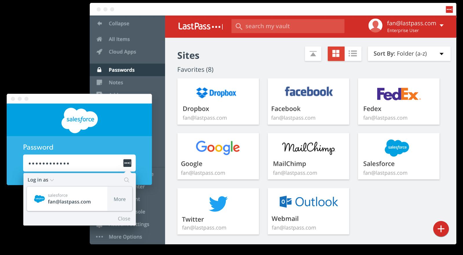 Screenshot of the LastPass productivity app.