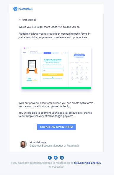 Email Template Example from Platformly