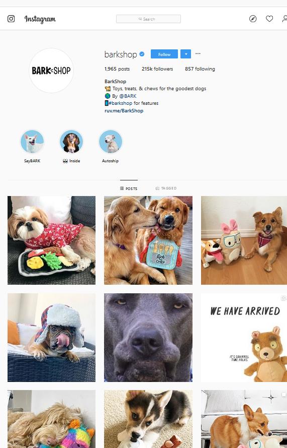 Bark Shop Instagram