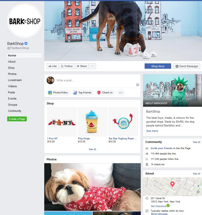 Bark Shop Facebook Page