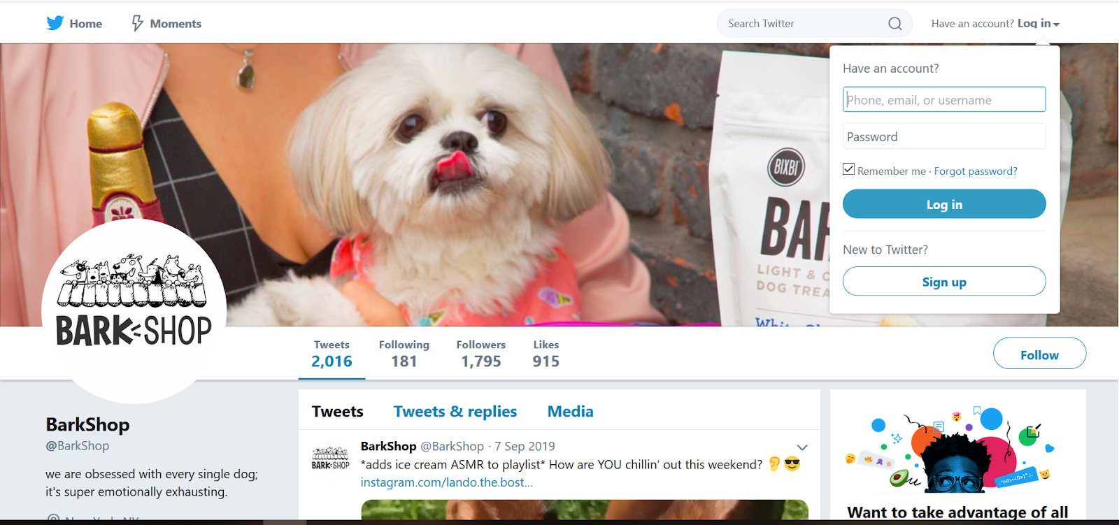 Bark Shop Twitter Page
