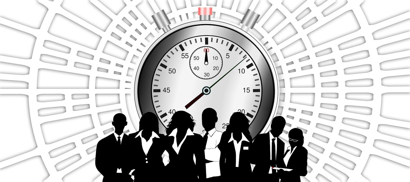 Business people and stopwatch