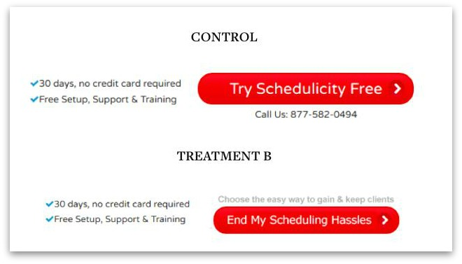 The difference between Schedulicity's two CTAs.
