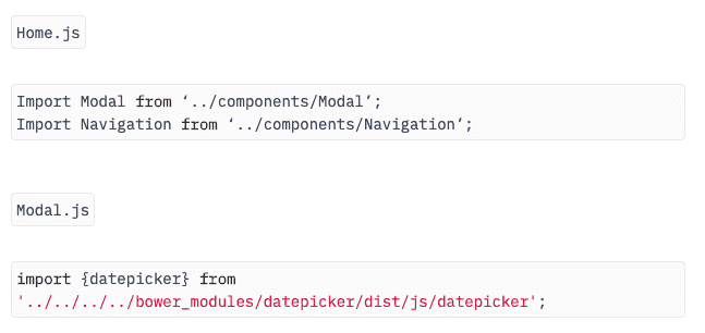 Importing components into containers or source code in webpack