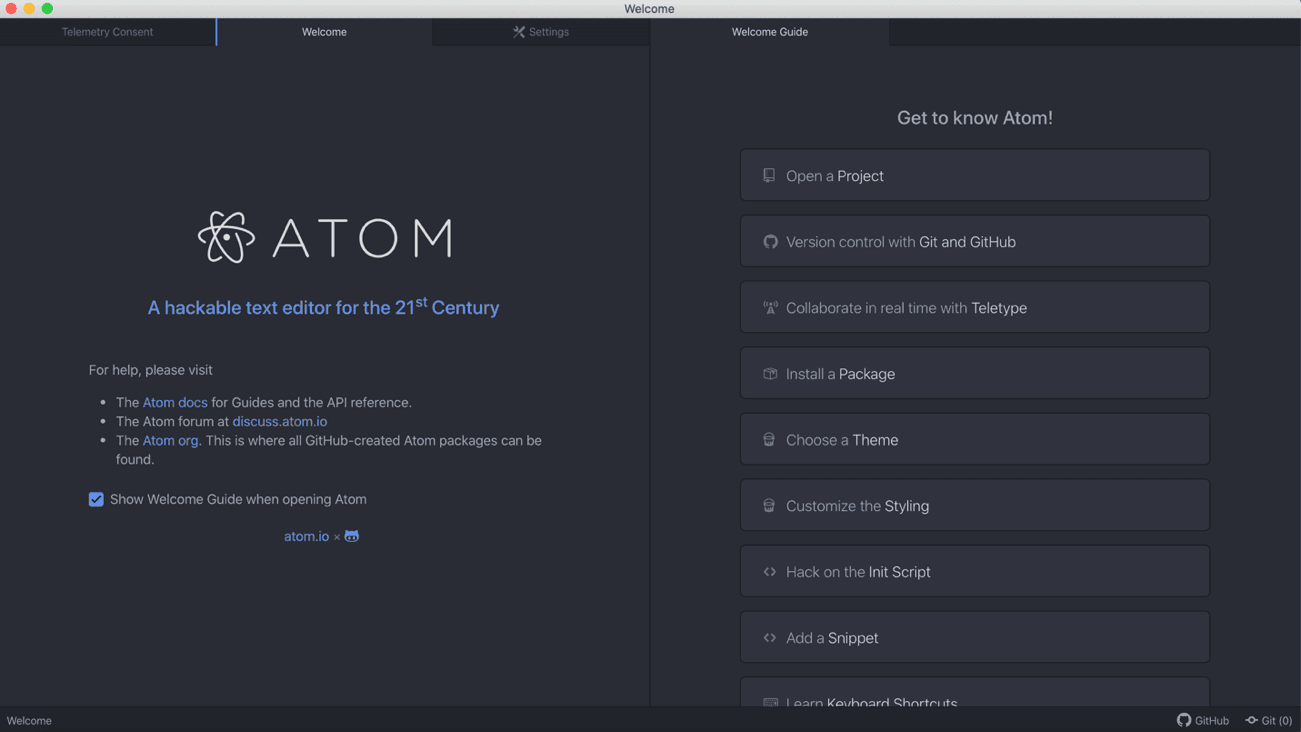 The Welcome Guide in Atom Text Editor
