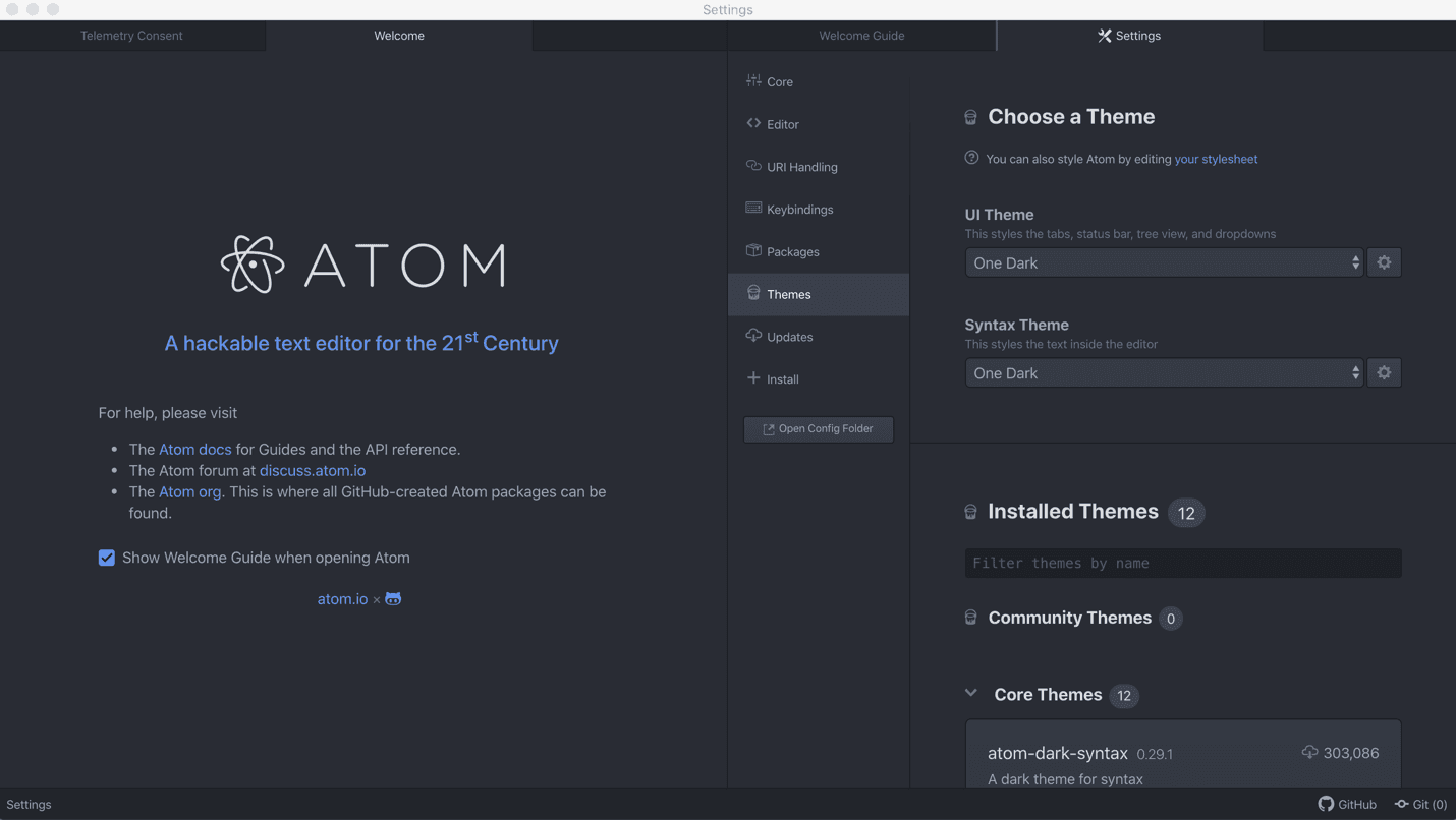 How to use Atom Text Editor themes
