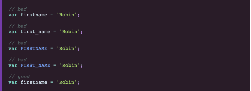 How to write JavaScript names using camelCase