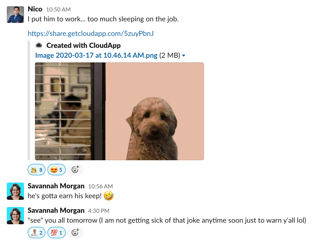 Screenshot of CloudApp Slack General Channel
