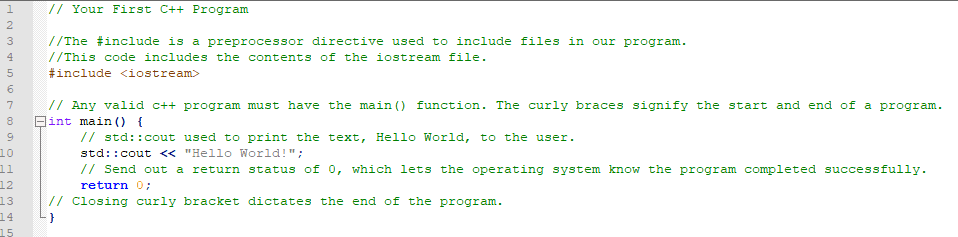C++ code with comments