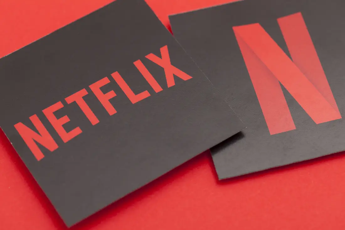The Netflix logo on black cardboard.