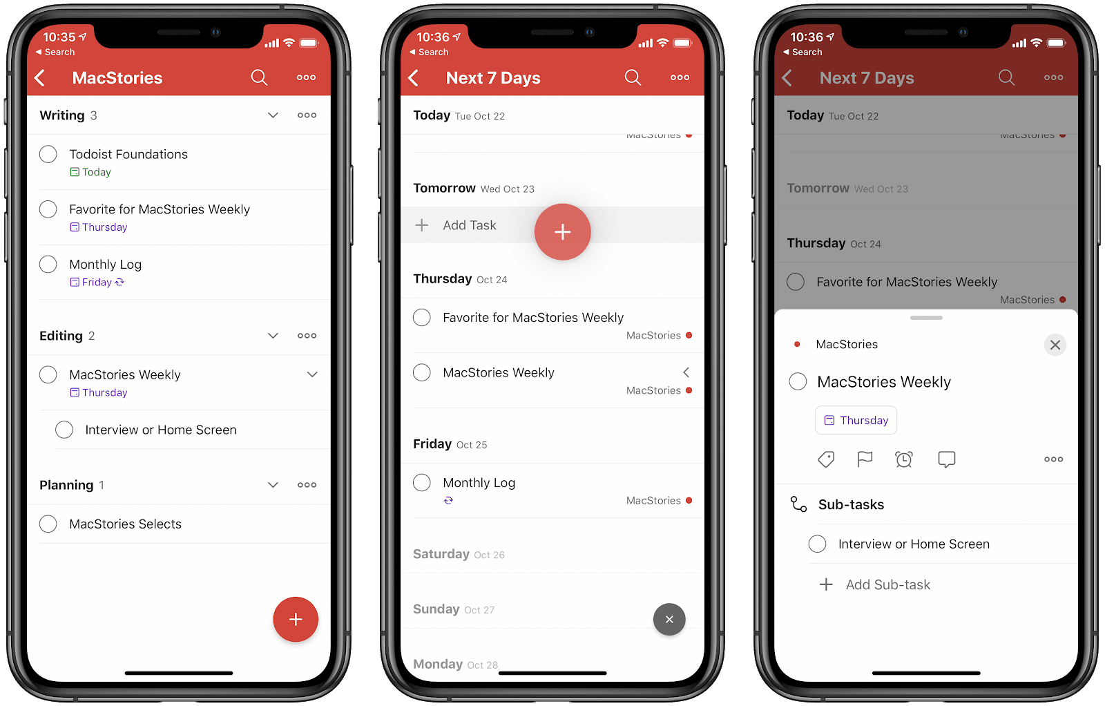 A screenshot of the ToDoist iPhone productivity app.