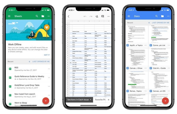 A screenshot of the G Suite iPhone productivity app.