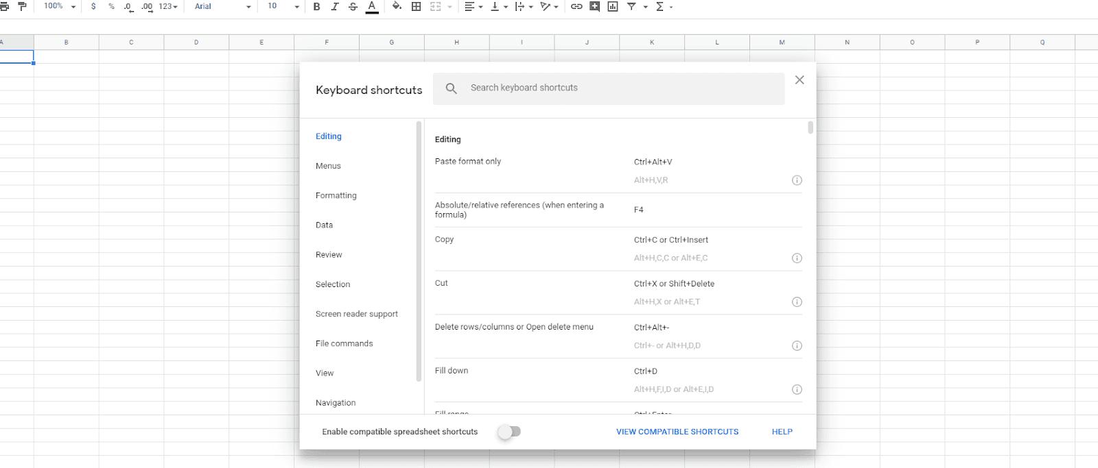 Google Sheets keyboard shortcuts