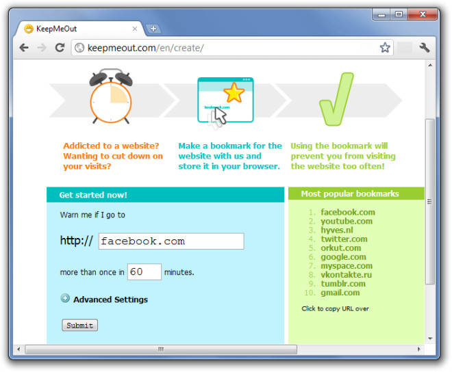 A screenshot of KeepMeOut's distraction cancelling software.