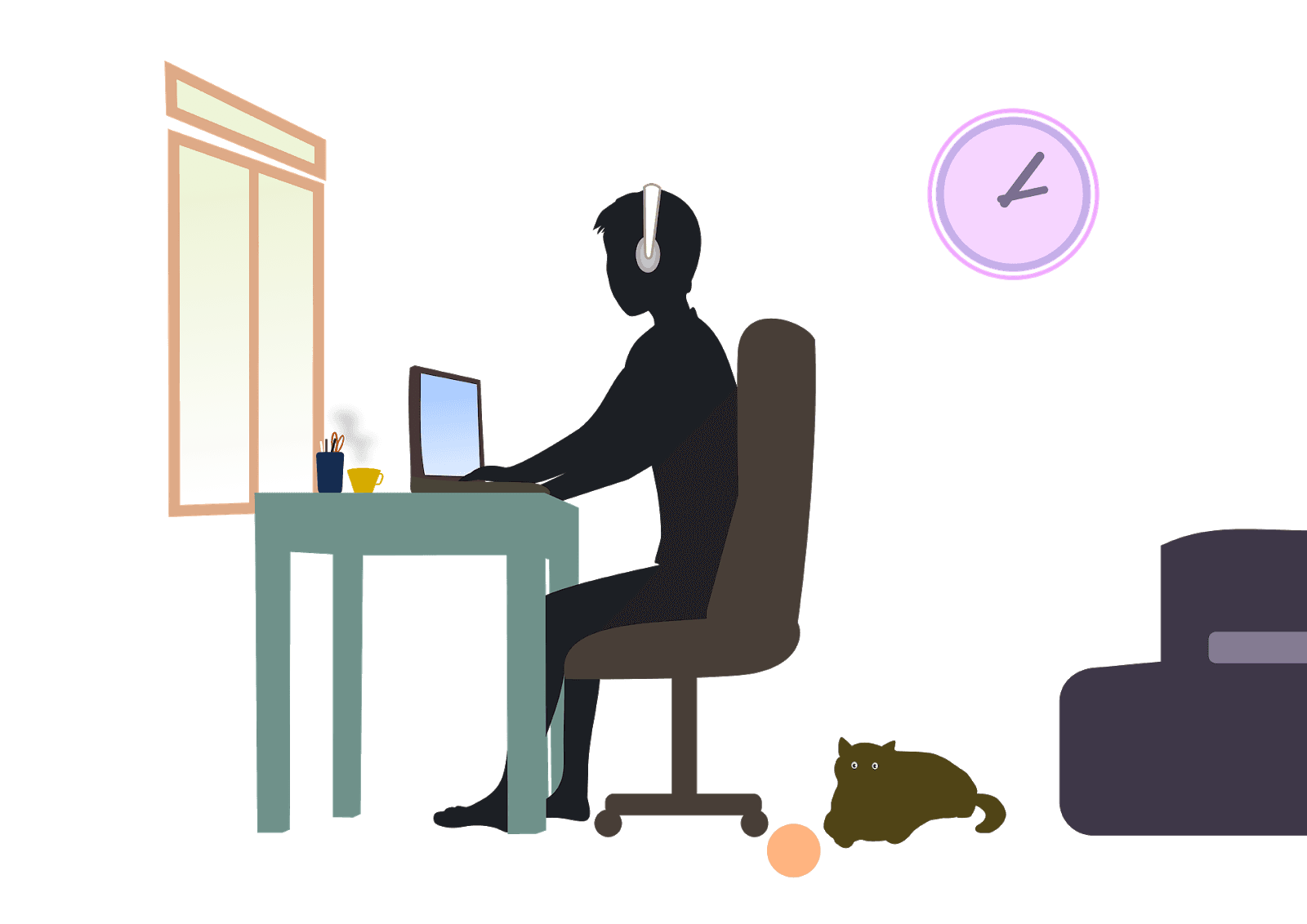 Remote employee working at desk