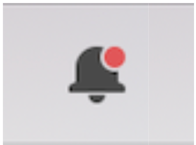A notification icon of a bell with a red dot