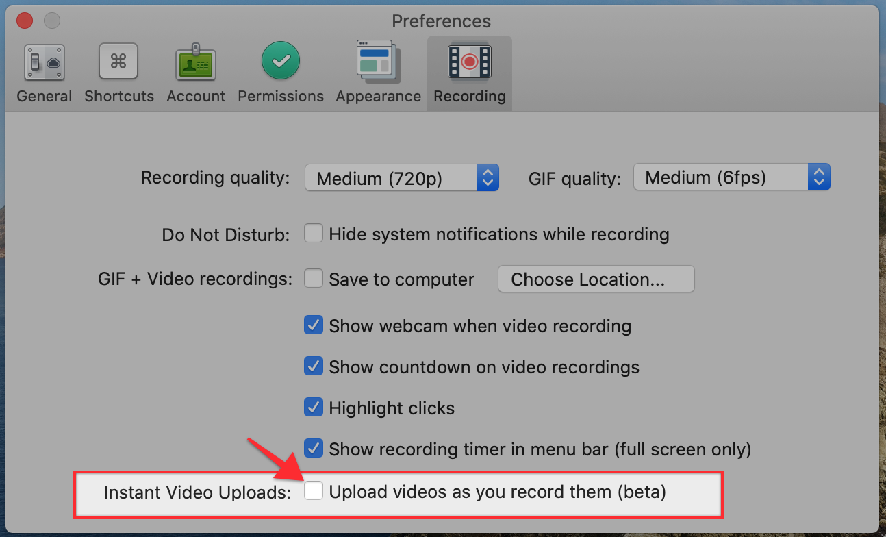 "An annotated screenshot emphasizing the words ""Instant Video Uploads: Upload videos as you record them (beta)"" with a check box."