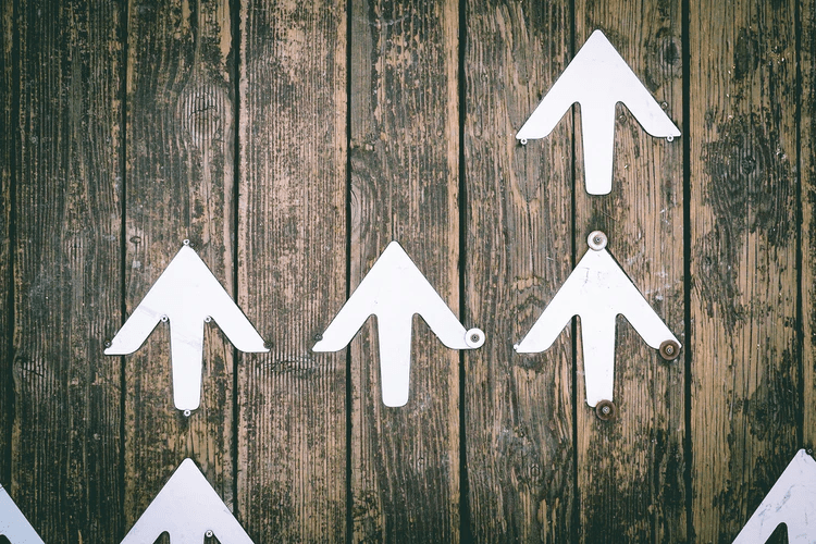 Arrows screwed to a wood background and pointing up.