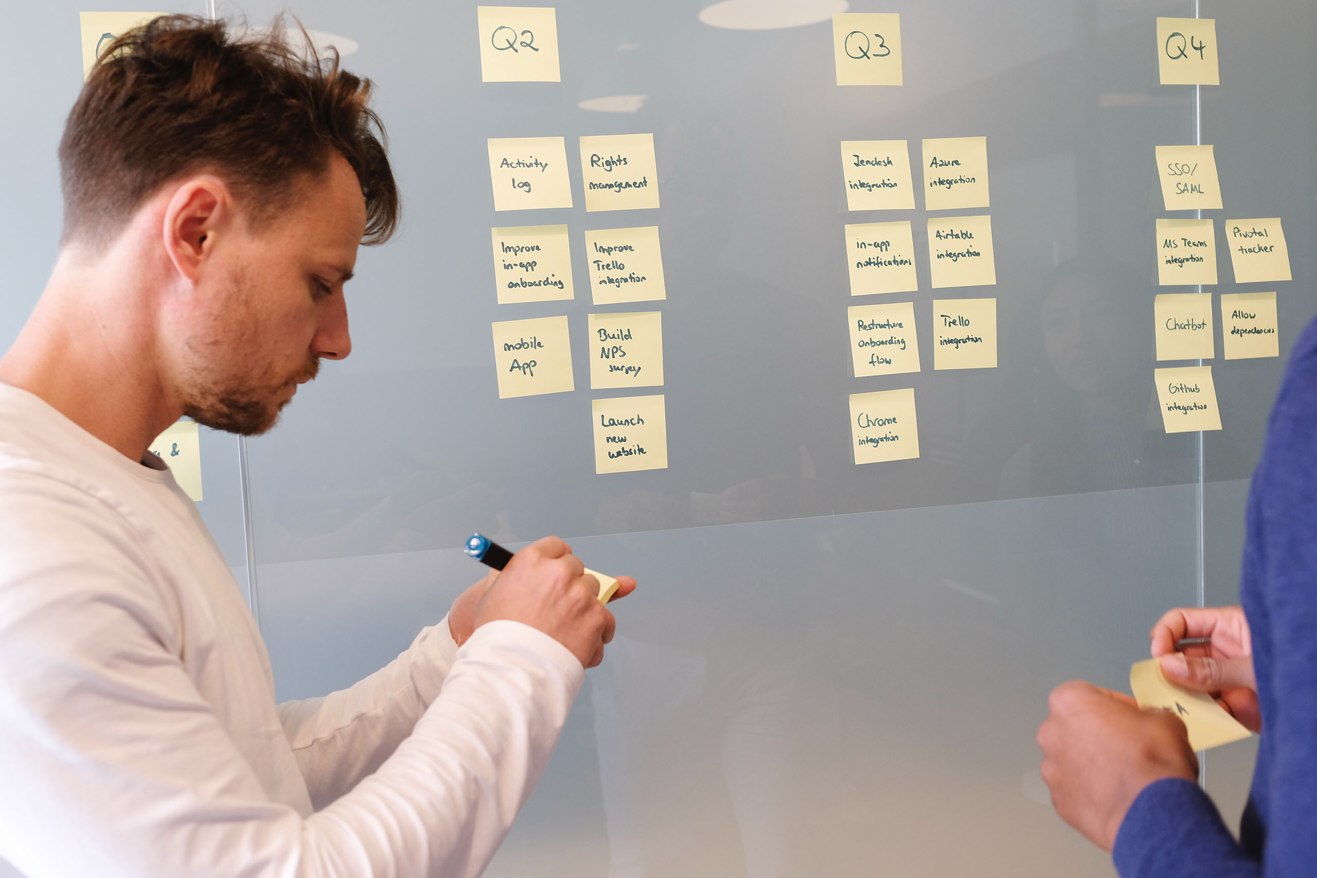 employees collaborating on timeline for company
