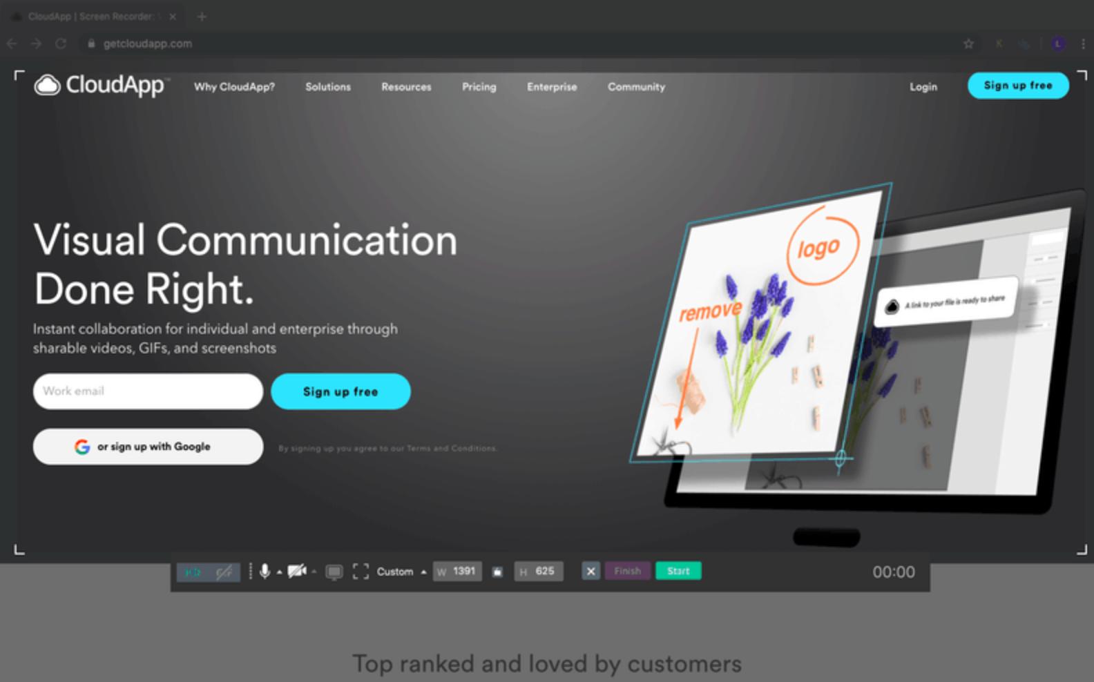 cloudapp screenshot of home page