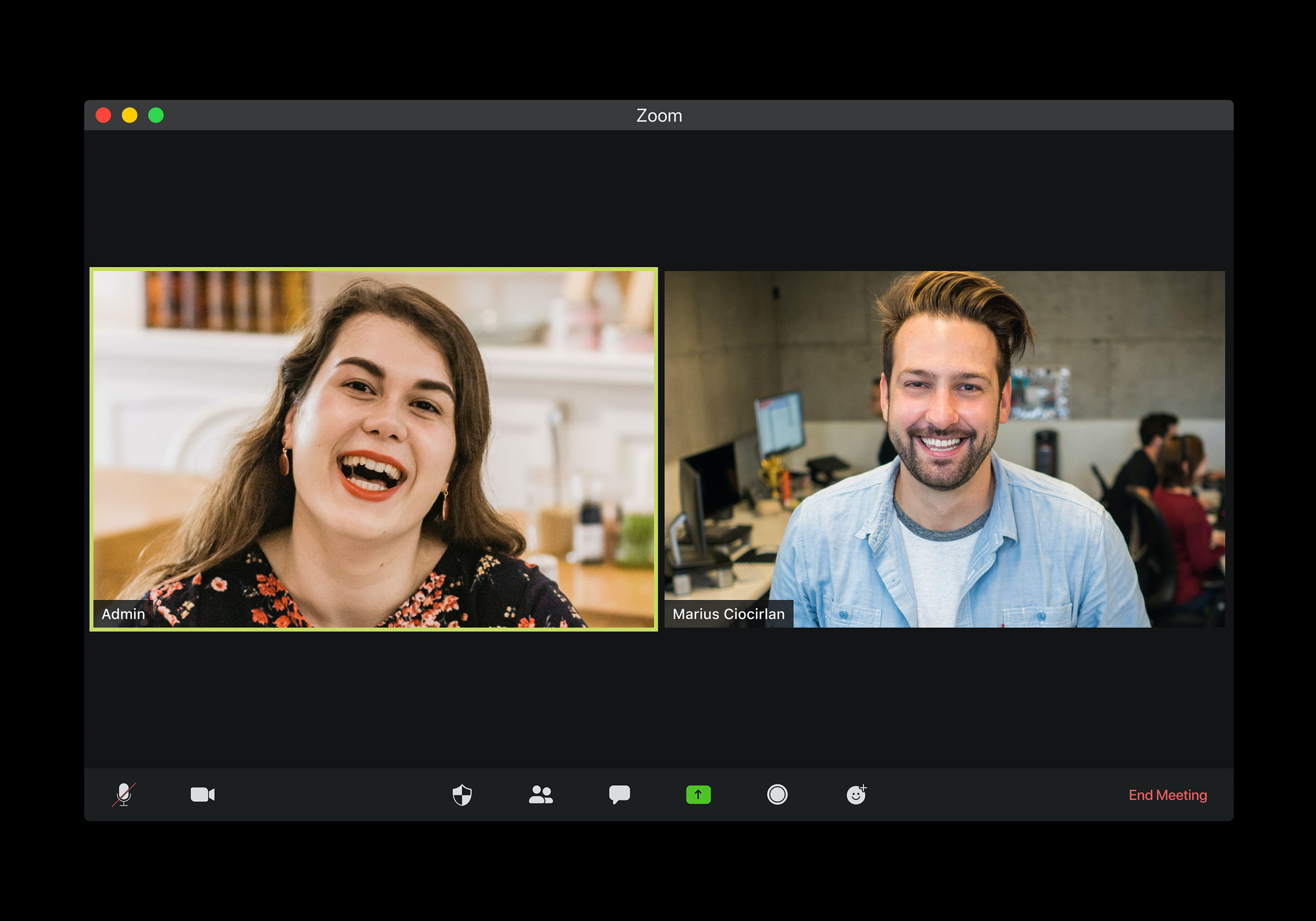 two employees on a zoom conference call