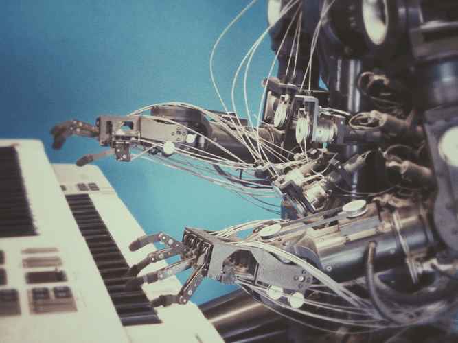 An automated robot playing the piano.