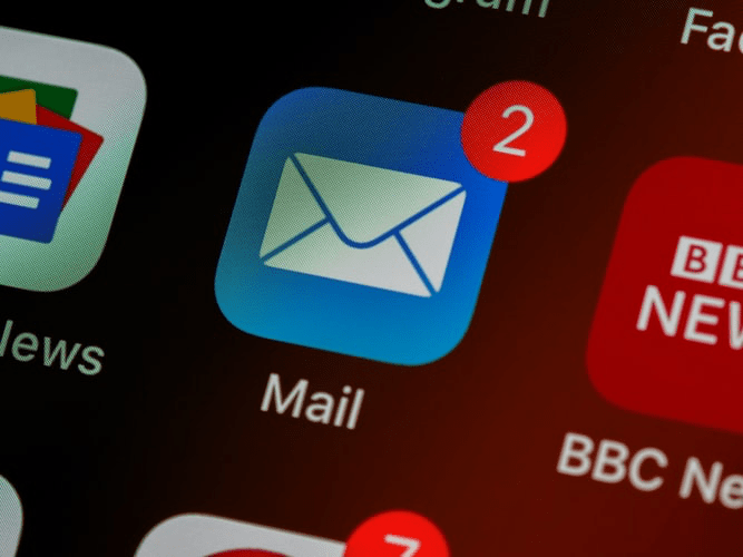 An email app on a smartphone.