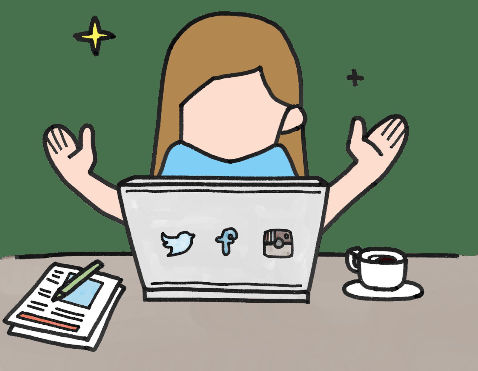 cartoon woman in front of laptop on Instagram