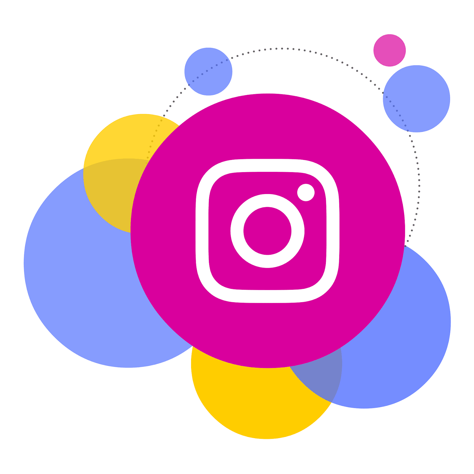 Instagram logo with bubbles