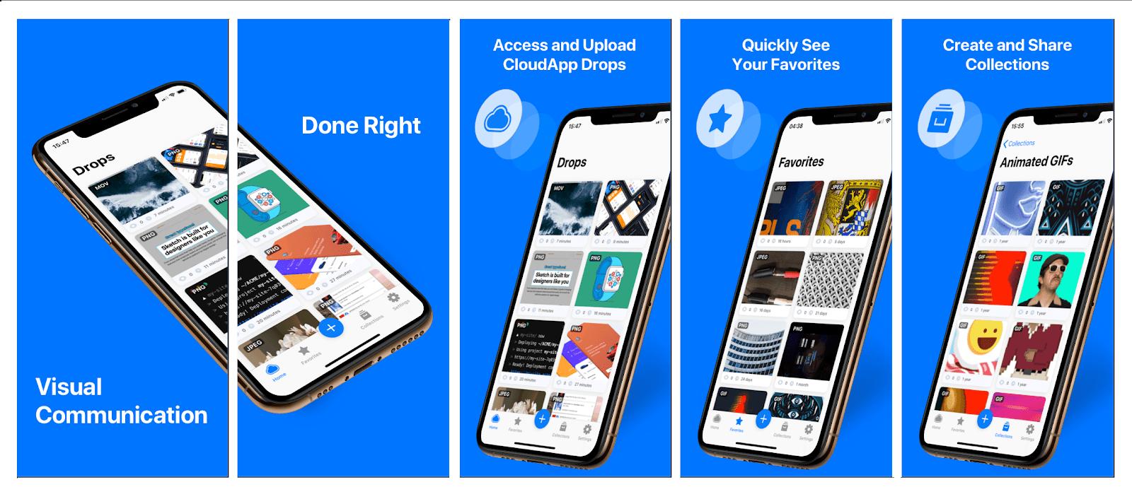 CloudApp's iOS app features