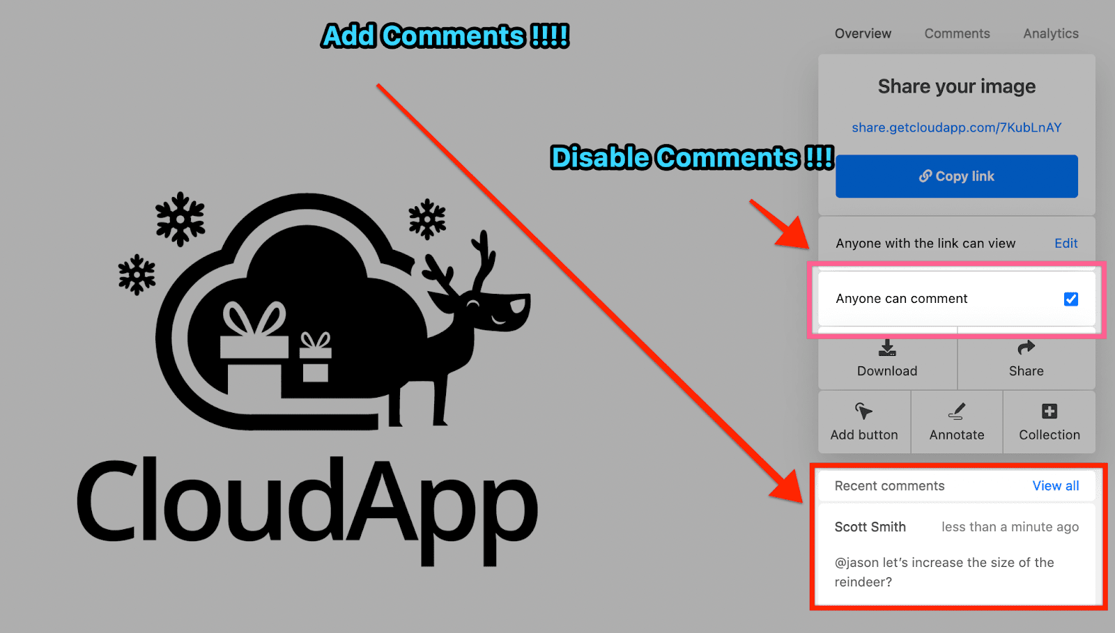 Screenshot illustrating CloudApp comment feature on content