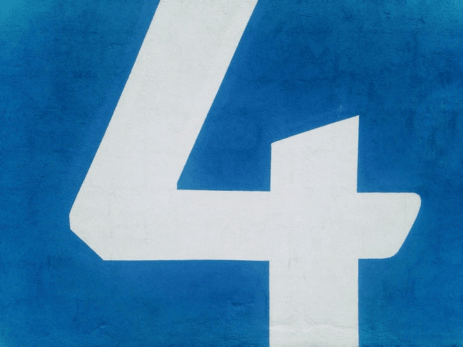 The number four on a blue background.