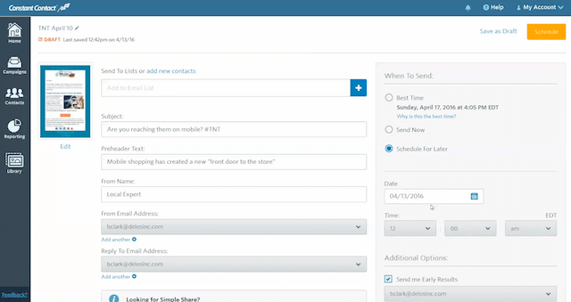A screenshot of Constant Contact, one of the best email marketing tools.