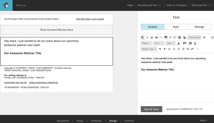 A screenshot of MailChimp, one of the best email marketing tools.