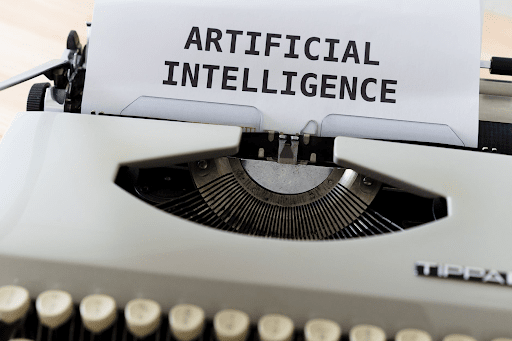"A typewriter writing the words ""artificial intelligence""."